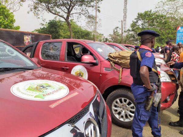 Amotekun The vehicles and some of the operatives of Special security outfit in Western Nigeria