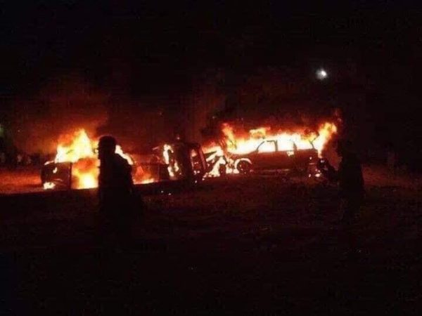 Vehicles burnt in the new airstrike in Baghdad