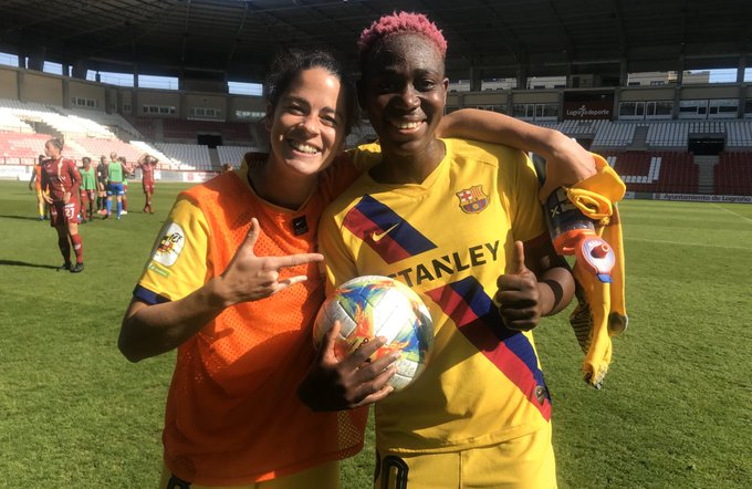 Asisat Oshoala with team mate after today's match at Logrono