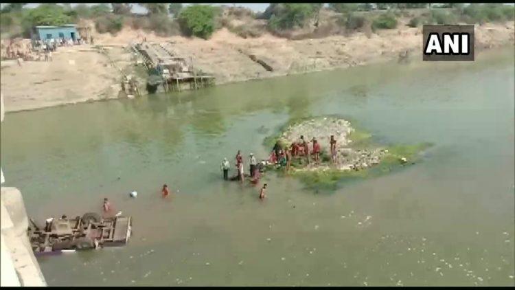 The accident scene inside the Mej River