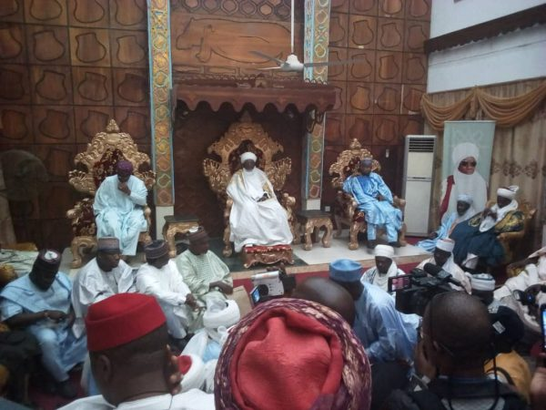 Gbajabiamila, left at the Emir of Yauri's palace on Saturday