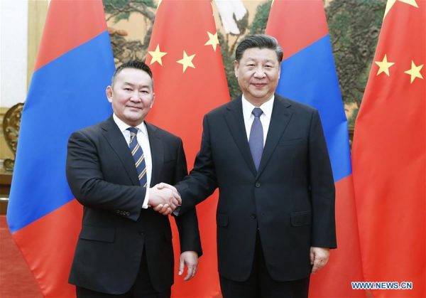 Xi Jinping with with Mongolian President Khaltmaa Battulga at the Great Hall of the People in Beijing,