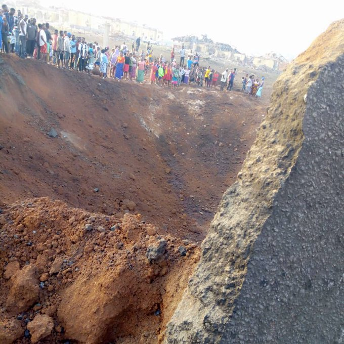 The crater left by the strange blast in Akure believed to be a meteorite