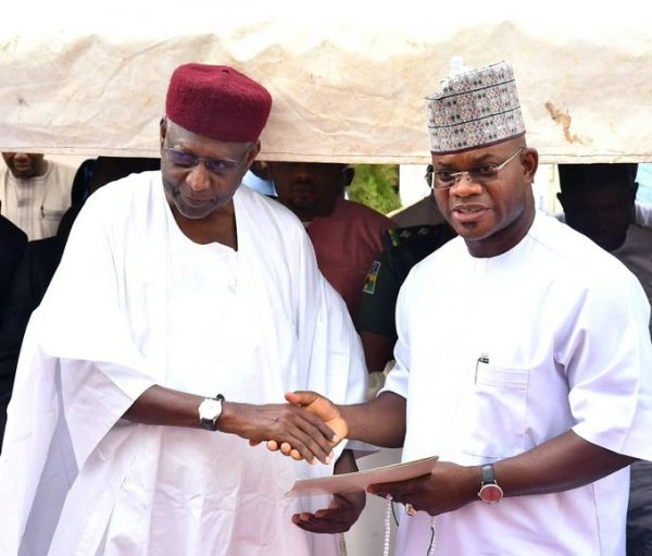 Yahaya Bello and Abba Kyari at the Firdau for Bello's mum on 17 March