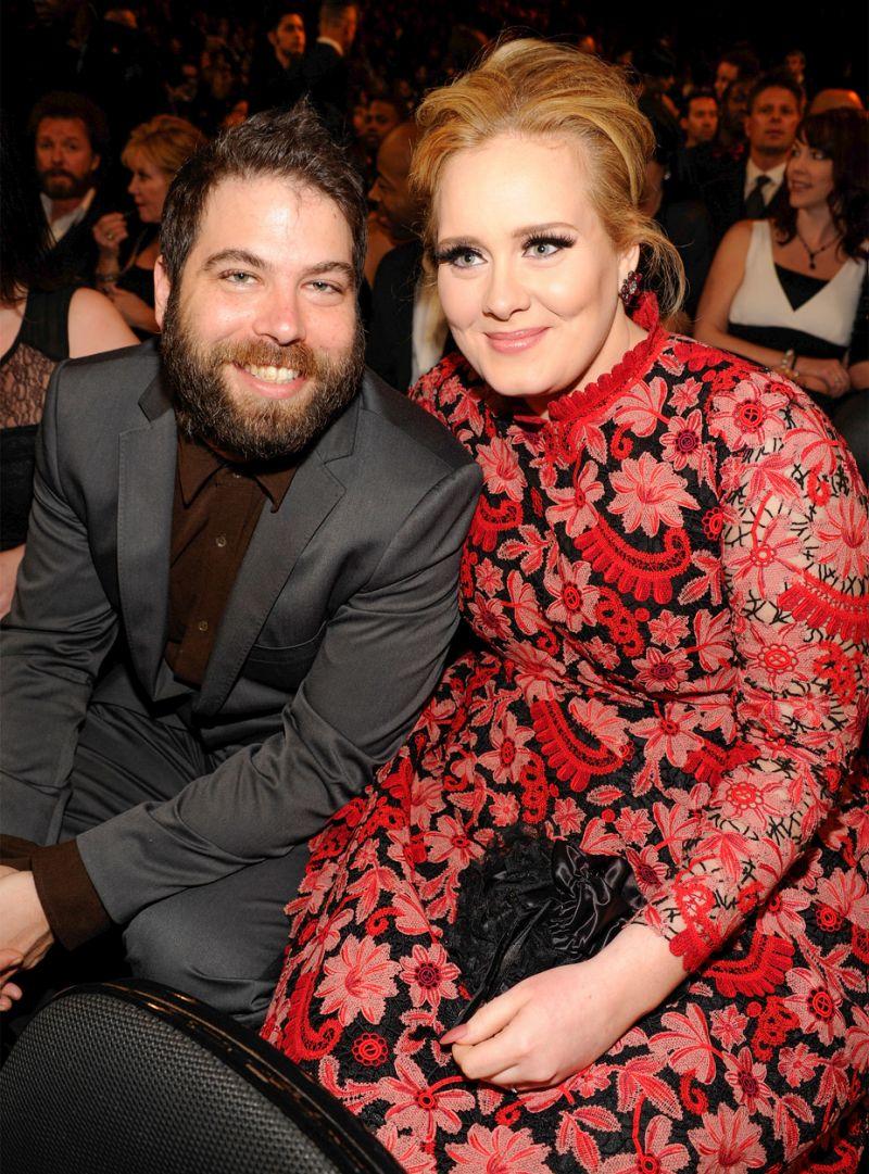 Adele (R) and Simon Konecki at the 2013 Grammys.