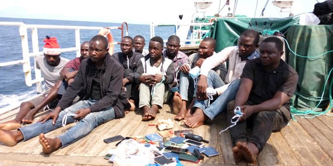 The arrested pirates by Nigerian Navy last year May