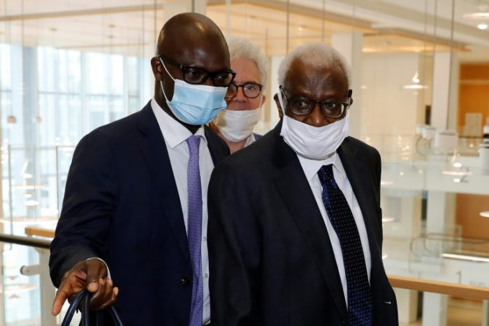 Lamine Diack, right, in court on Monday