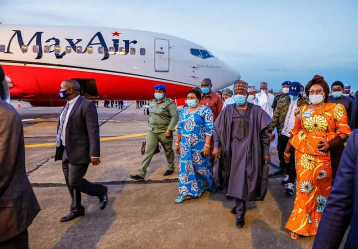 the Lalongs and Pauline Tallen on arrival in Jos at Yakubu Gowon Airport
