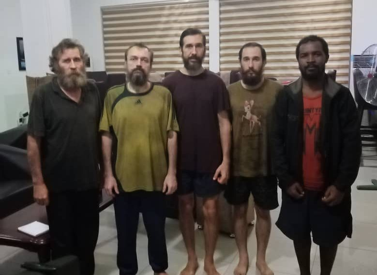 the three Russian sailors, one Ukrainian, one Equatorial Guinean rescued