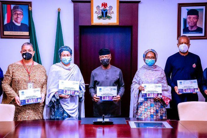 Ms Hannah Telleh, Amina Mohammed, VP Osinbajo, Zainab Ahmed and Onyeama