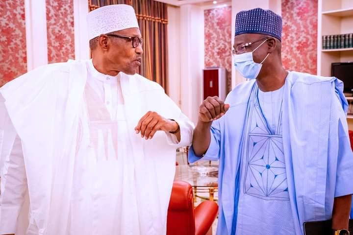 Elbow shake: Buhari and Governor Sule