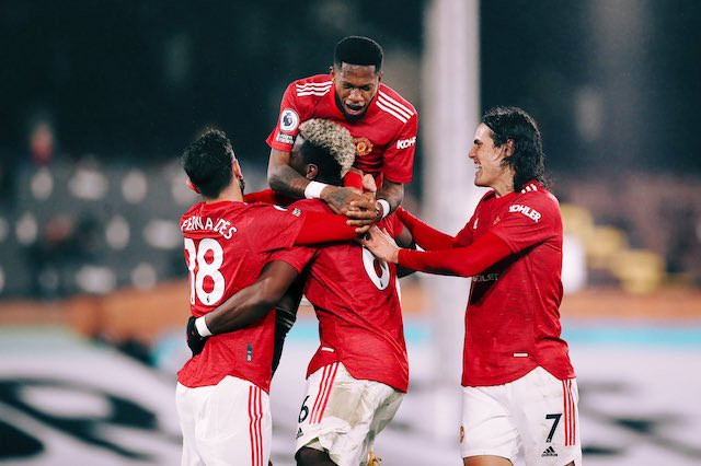 Pogba mobbed by Manchester United team mates