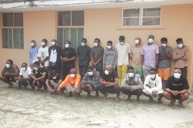 The 22 Yahoo Yahoo boys arrested in Sangotedo Lagos