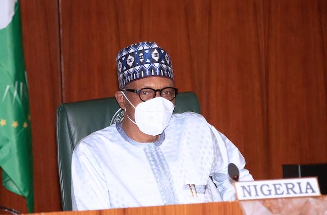 Buhari taking part in the virtual 34th Ordinary Session of AU