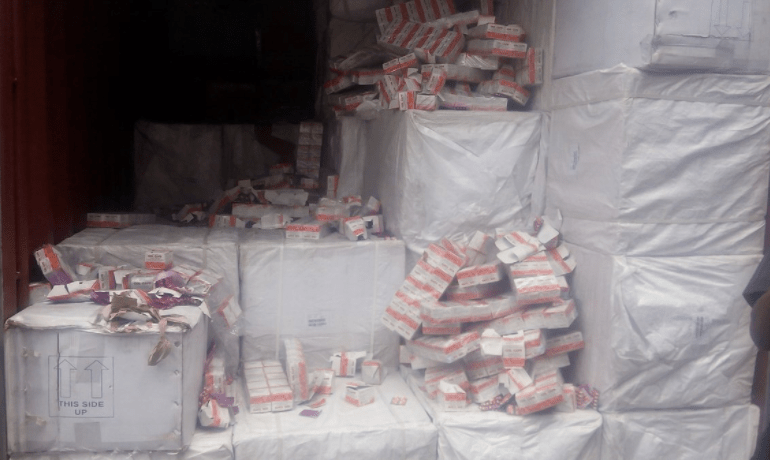 Customs-seizes-tramadol-other-items-worth-N24.1m-at-Seme