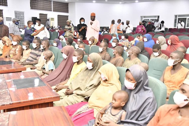 File photo of the 53 abducted bus passengers in Government House Minna on 21 February