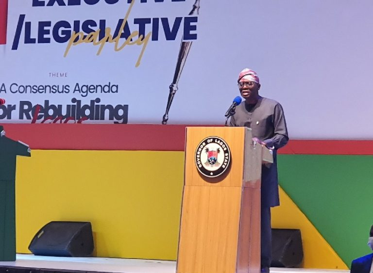 Sanwo-Olu at the parley in Victoria Island today