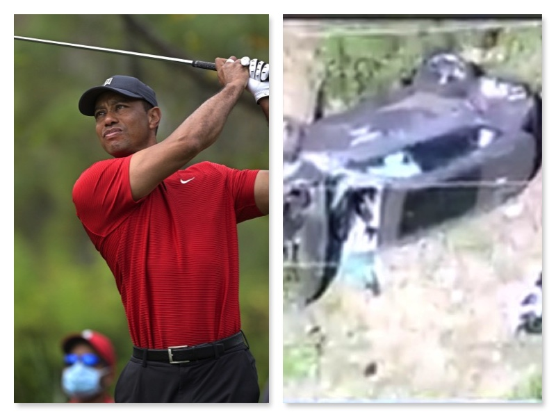 Tiger Woods and the wrecked car