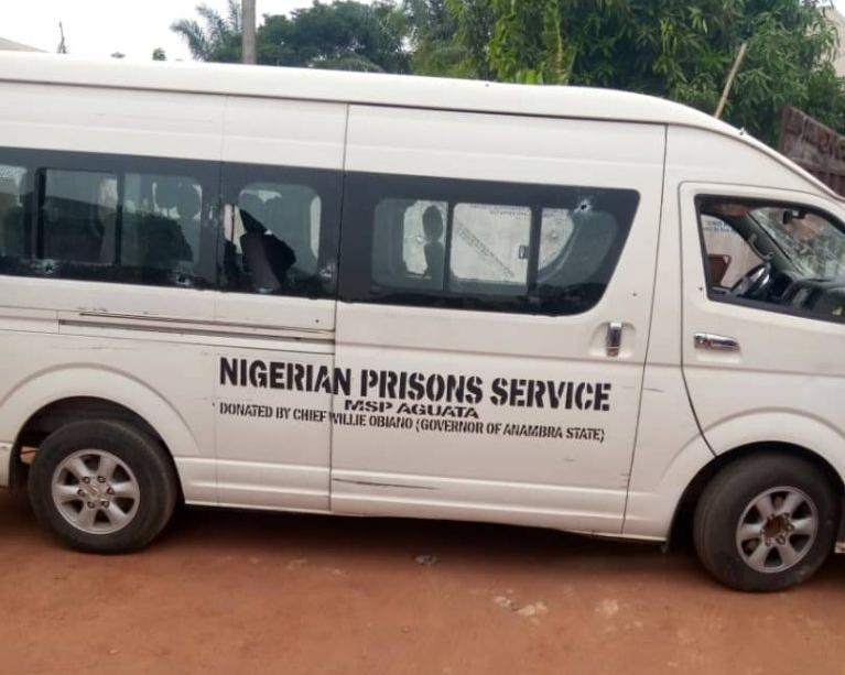 The Nigeria Correctional Service vehicle attacked by gunmen in Ekwulobia area of Anambra