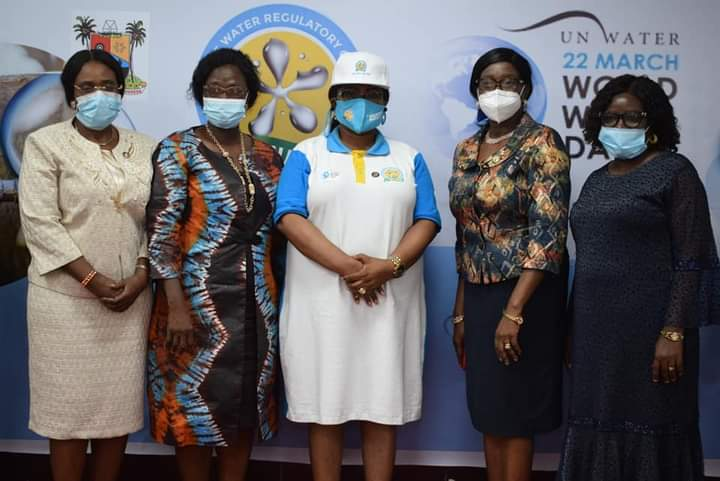 Permanent Secretary, Lagos State Office Of Sustainable Development Goals (Sdg), Mrs. Bose George; Permanent Secretary/Tutor General, Education District 1, Mrs. Titilayo Solarin; Executive Secretary, Lagos State Water Regulatory Commission (Laswarco), Mrs. Funke Adepoju; Permanent Secretary, Lagos State Office Of Environmental Services, Mrs. Belinda Odeneye; And Professor Of Geology, Mrs. Mary Odukoya, At The World Water Day Celebration Organized By Laswarco On Monday At Lagos State Debt Management Office, Alausa, Ikeja.