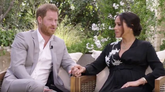 Harry and meghan during the interview with Oprah
