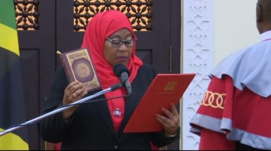 Samia Suluhu Hassan at the swearing in as president of Tanzania