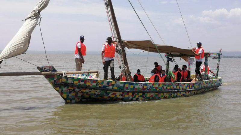 The Flipflopi boat sailing around Lake Victoria in Kenya