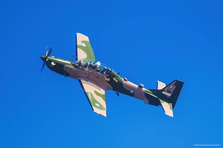 The Nigerian Air Force A-9 Super Tucano on test flight