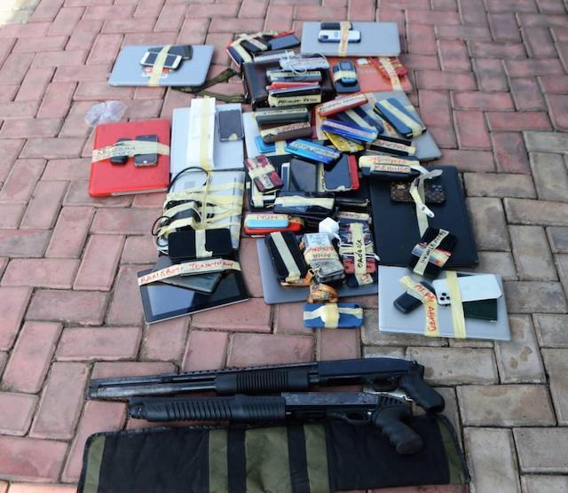 Pump action rifles, phones andd laptops