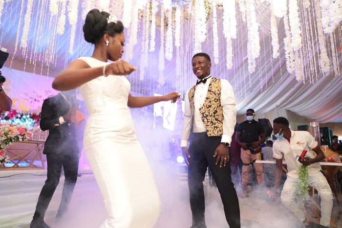 Dancing time: Oba Malaolu and Feyisetan Sogbesan take to the floor