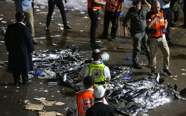 .Israeli rescue forces and Police near the scene after a crush wounded dozens during the celebrations of the Jewish holiday of Lag B'omer on Mt. Meron, in northern Israel on April 30, 2021.  Photo: Times of Israel