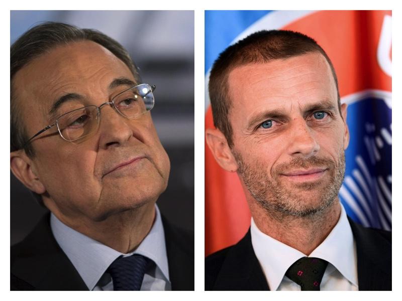 Super League chief Florentino Perez and UEFA Pesident Ceferin