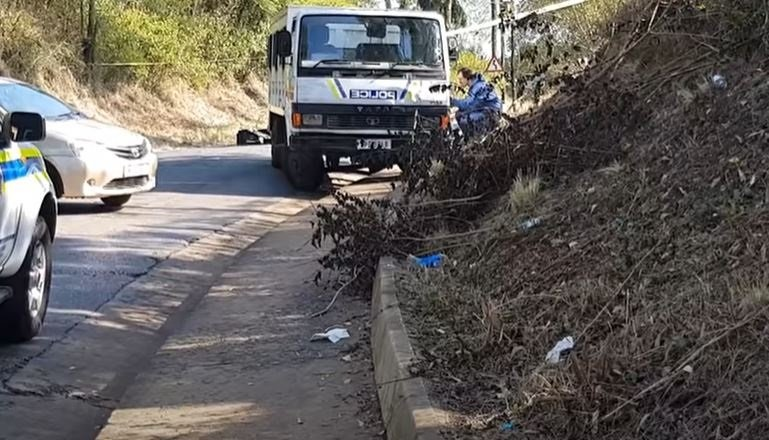 The police truck carrying prisoners ambushed close to Pietermaritzburg, South Africa