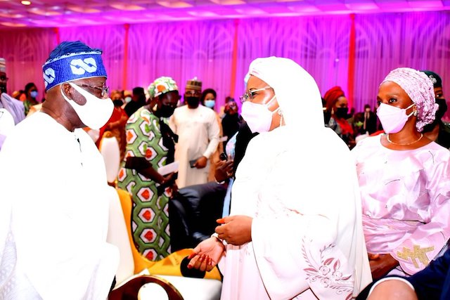 Tinubu with Aisha Buhari and Dolapo Osinbajo