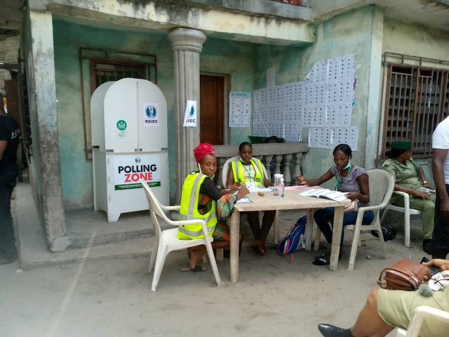 Voters boycott Rivers LG poll. Above Waiting for voters at a polling unit