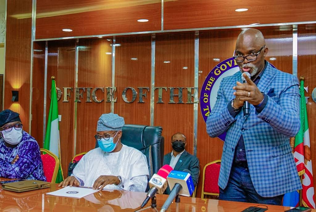 Governor Adegboyega Oyetola and NFF President, Amaju Pinnick