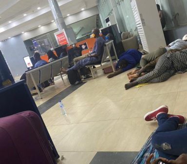 FILE PHOTO: Air Peace passengers at the Arrival Hall of the MM1 wing of the Lagos airport on Thursday night.