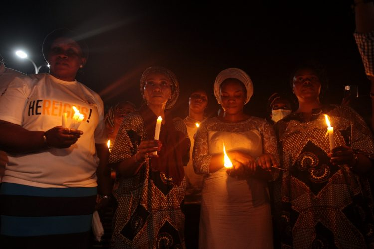 Dare's wife Temitope during the candlelight procession
