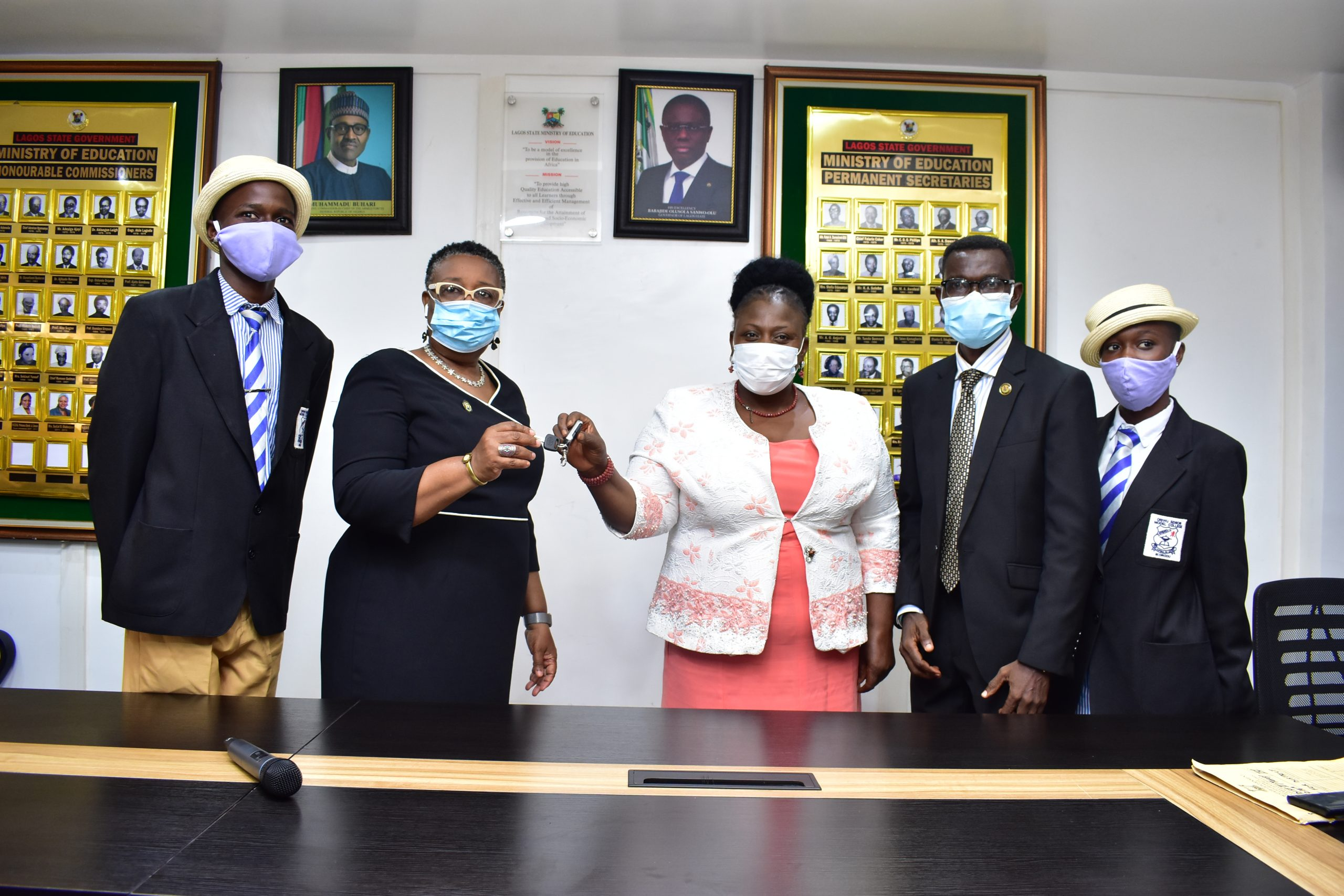 Oriwu Senior Model College Students with Honourable Commissioner for Education, Mrs. Folasade Adefisayo