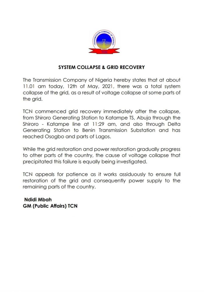 TCN statement on grid collapse