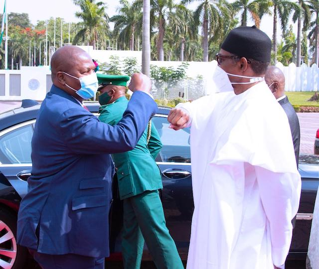 Elbow shake: Buhari receives President of Central African Republic (CAR) Faustine Archange Touadera