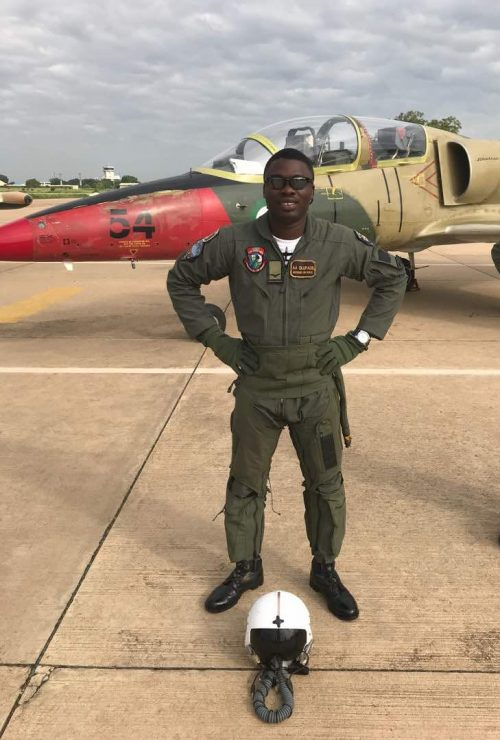 Flt. Lt Alfred Olufade who married two months ago