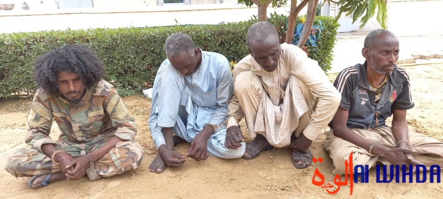 Mahadi Bechir, left , and three other rebel commanders captured by Chad's military