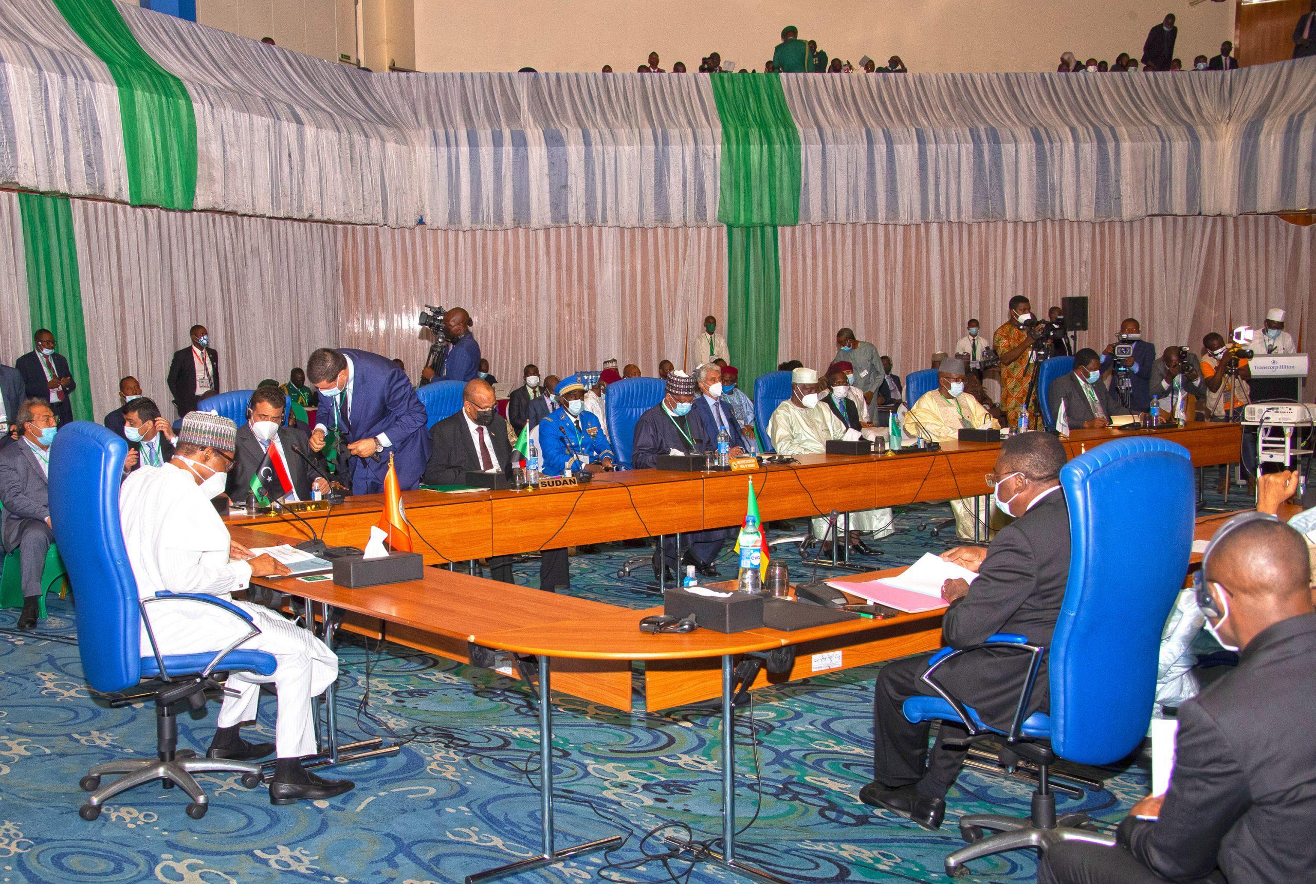 PRESIDENT BUHARI CHAIRS LAKE CHAD BASIN COMMISSION MEETING 5A President Muhammadu Buhari Chairs the Extraordinary Summit of the Lake Chad Basin Commission (LCBC) held at the Transcorp Hilton Abuja. PHOTO; SUNDAY AGHAEZE. MAY 25TH 2021