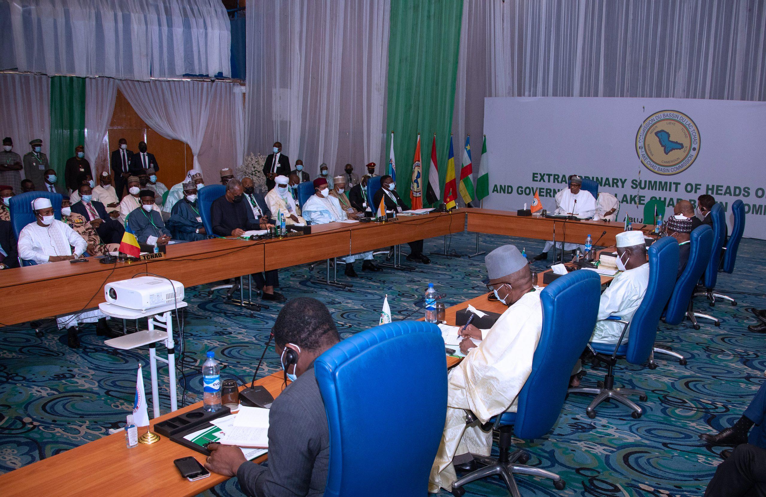 President Muhammadu Buhari Chairs the Extraordinary Summit of the Lake Chad Basin Commission (LCBC) held at the Transcorp Hilton Abuja. PHOTO; SUNDAY AGHAEZE. MAY 25TH 2021
