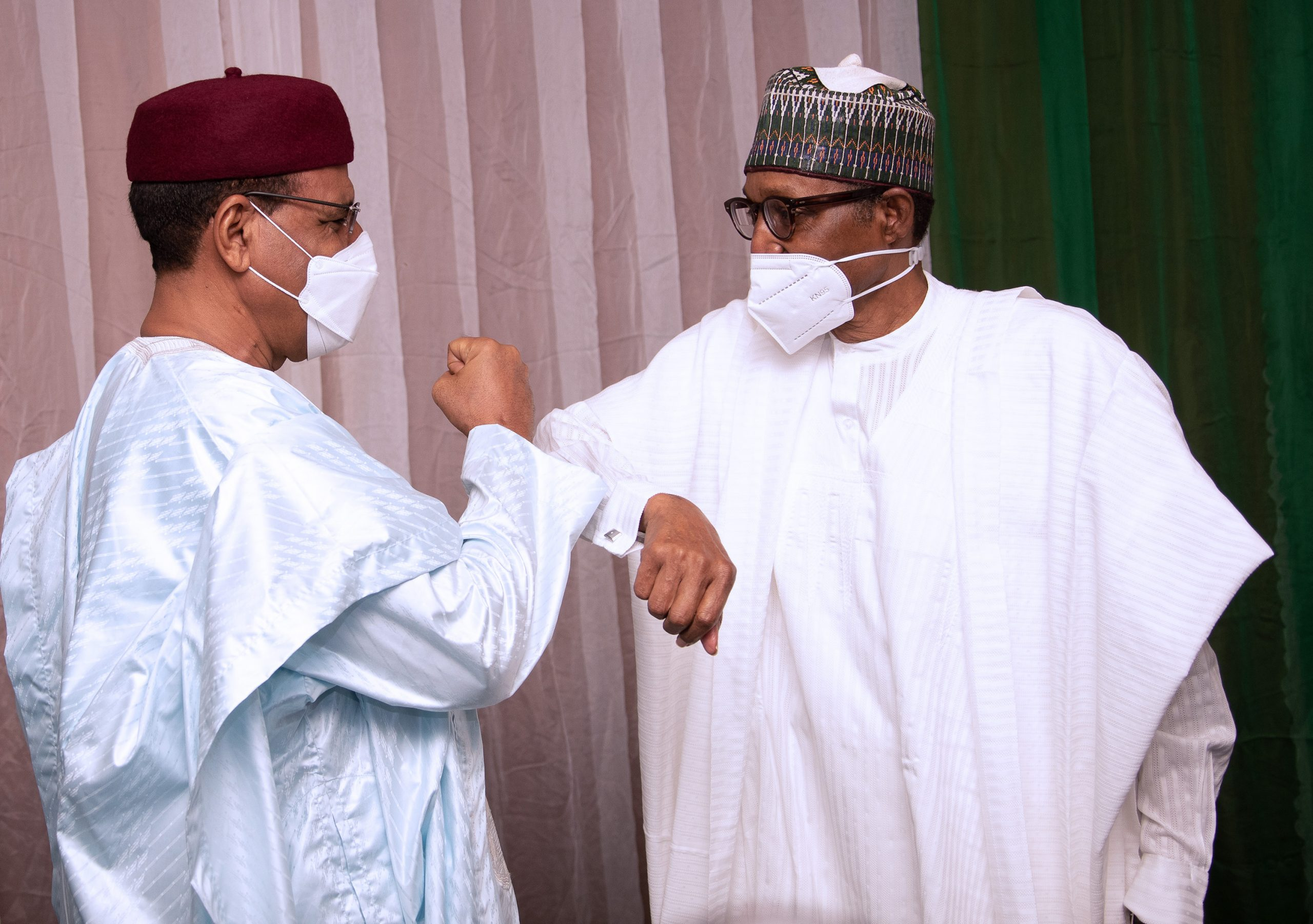 President Muhammadu Buhari receives the President of Niger, H.E Mohame Bazoum during the Extraordinary Summit of the Lake Chad Basin Commission held at the Transcorp Hilton Abuja. PHOTO; SUNDAY AGHAEZE. MAY 25TH 2021