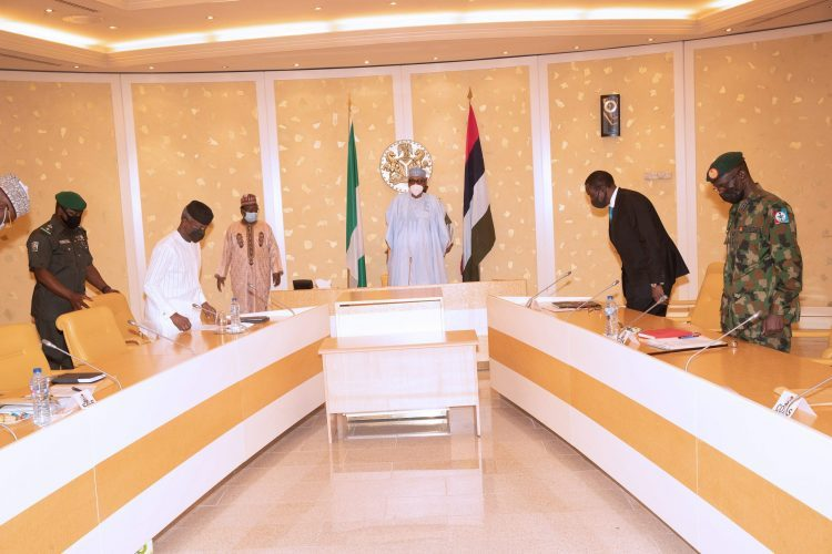 Buhari presides over security meeting in Abuja. PHOTO: SUNDAY AGHAEZE. MAY 4 2021