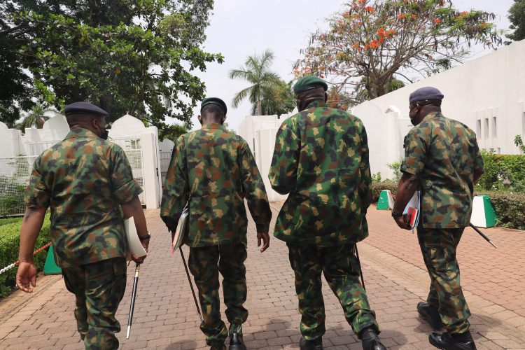 Nigeria's service chiefs during security meeting in Abuja. PHOTO; SUNDAY AGHAEZE.