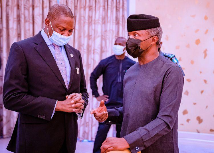 Osinbajo with Abubakar Malami at the security council meeting
