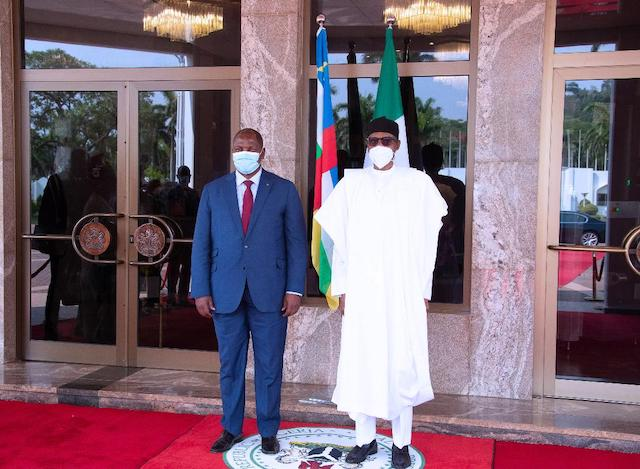 President of Central African Republic (CAR) H.E Prof Faustine Archange Touadera and President Buhari